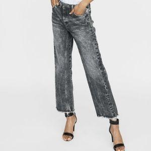 Maje Acid Wash Cropped Frayed Jeans SZ 30 US